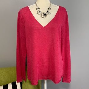 Eileen Fisher Vibrant Pink Linen Knit Sweater D5